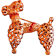 Figural Poodle Pin w/Clear & Red Rhinestone Accents