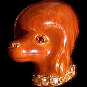Figural Poodle Tac, Enamel W/Rhinestone Collar, Signed E Pearl