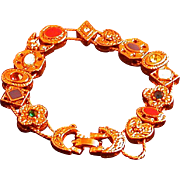 Vintage 14-Slide Bracelet, Victorian-style, Double Chain, Circa 1960's