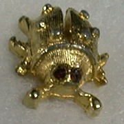 Tiny Ladybug Tac, Gold Tone Metal, Red Eyes