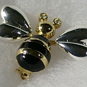 Tremblant Bee Pin, Two-Toned Metal, Enamel, Rhinestone Eyes
