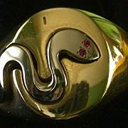 14k Yellow/White Gold Snake Ring, Ruby Eyes, Size9.5