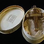 Antique14K and Wood Cross Pendant, Norwegian c.1860-90
