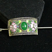 Asian Stick Barrette, Silver Filigree W/Enamel & Green Cabochon
