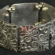 Mexican Taxco Sterling 6-Panel Bracelet c.1948-80, Hallmarked
