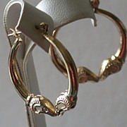 14K Yellow Gold Hollow Hoop Earrings w/Bird's Heads