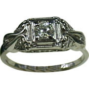 18K White Gold & Diamond Lady's Ring, Size 6 ¾, Vintage 1930-40s