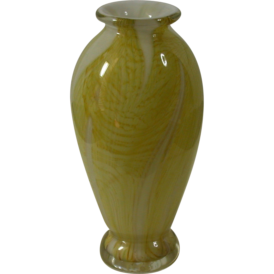 vintage cased glass vase yellow white clear from. Black Bedroom Furniture Sets. Home Design Ideas