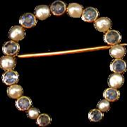 Vintage Sapphire/Pearl/14K Horseshoe Pin circa 1910-20