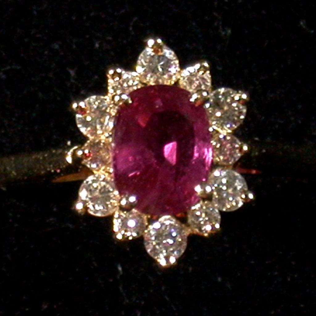 Rubellite Tourmaline, Diamond  & 14K Gold Ring, Vintage, Size 6.25-6.5