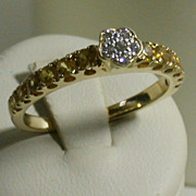 Diamond, Citrine & 18K Yellow Gold Lady's Ring, Size 7