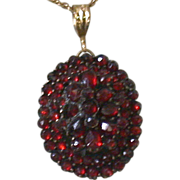 Antique Bohemian Rose Cut Garnet Necklace on 14K Chain