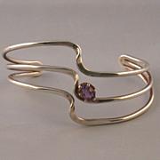 Amethyst & Sterling Silver Open-Cuff Bracelet, Vintage