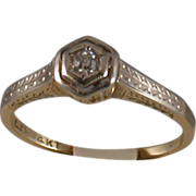 Diamond/14K Gold Ring, Early 20th Century, Size 5.75