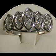 Diamond/14K White Gold Ring, 5 Marquise Stones, Size 6.5