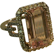 Morganite/Diamond/14K White Gold Lady's Ring, Sz. 7.5