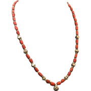 Natural Coral & Silvery Metal Bead Necklace, Vintage, 24-Inch