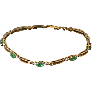 "Emerald, Diamond, 10K Gold Flexible Bracelet, 7"" length"