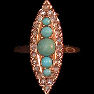 14K Turquoise And Rosecut Diamond Ladies Ring C. 1915-20