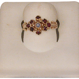 Victorian Period 9ct. Gold English Garnet/Moonstone Ring, Sz. 6