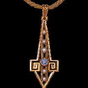 Art Deco Period 14K Gold/Sapphire/Pearl Lavaliere, Rare!