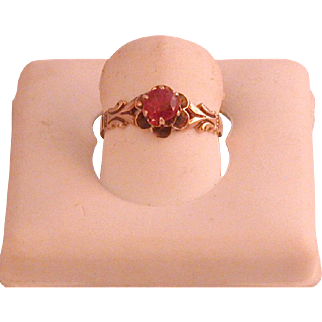 Vintage American-made Ruby And 14K Gold Ring, Size 5 ¾