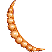 Natural Pearl and 14K Yellow Gold Crescent Moon Pin, C. 1910-20