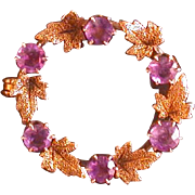 Antique Lady's 14K/10K/Amethyst Wreath Pin C. 1890-1910
