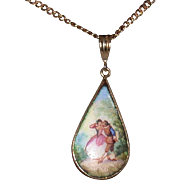 "Hand Painted Porcelain Pendant On 14K Gold 24"" Chain"