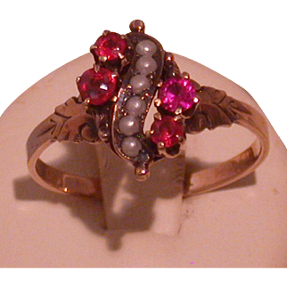 Victorian/Art Nouveau Ruby, Seed Pearl & Rose Gold Lady's Ring, Size 7