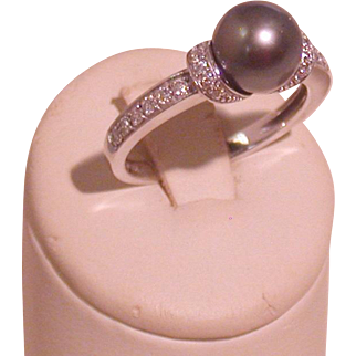 Tahitian Black Pearl and Diamond Ring, 14K White Gold, Size 6.5