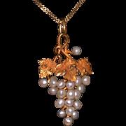 """Art Nouveau 14K Gold & Pearl Grape Cluster Pendant On 18""""Vermeille Chain"""