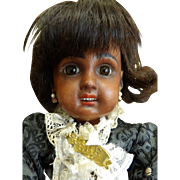 Antique Bisque Cabinet Sized Open Mouth African American Jumeau Doll