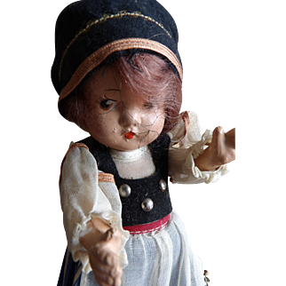 Vintage 1939 New York World's Fair Jointed Composition International Girl Doll AO