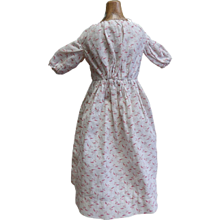 Handsewn Antique Printed Cotton Dress for Small China Doll with Slip