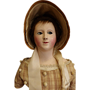 Unusual 19thc Antique Paper Mache Doll with Flirty Eyes and Provenance