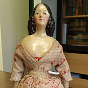 19thc Antique Paper Mache Milliner's Model Doll with Long Side Curls and Bun