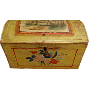 Unusual 19thc Hand Painted Wooden Doll Sized Trunk with Domed Lid