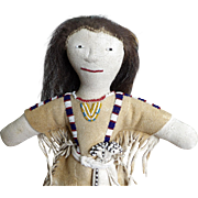 Beaded Vintage Leather Native American Plains Indian Doll