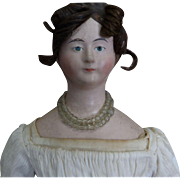 Early 19thc Antique Paper Mache Doll with Braided Coronet and Inserted Hair