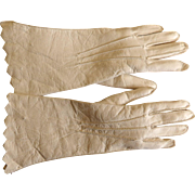 Antique Fine Sewn Leather Gloves for French Fashion Doll Marked Carson Pirie