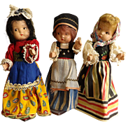 3 Composition International Dolls made for the 1939 World's Fair by Doll Craft