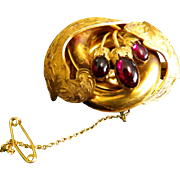 Antique Early Victorian Oval Gold with Garnet Brooch/Pin