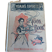 1902 Hard Cover Woman's Favorite Cook Book: Three Volumes in One