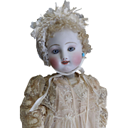 "Antique French 22"" Early Steiner Gigoteur Doll with Original Cap and Rare Rattle"