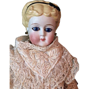 Antique German Glass Eyed Parian Lady Doll Blonde Hair