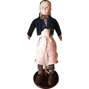 Antique Paper Mache Man Doll Dressed as Merchant with Wooden Shoes All Original