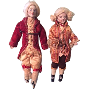 Pair of Antique Dolls' House Sized Wigged Male Dolls