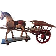 Turn of the Century Paper Mache Horse and Wagon Toy
