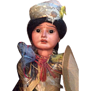 Antique German Bisque Character Doll Dressed as a Native American by Armand Marseilles